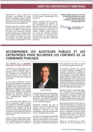 Commande publique par Maître CAMIERE : Article Journal du Management Juridique